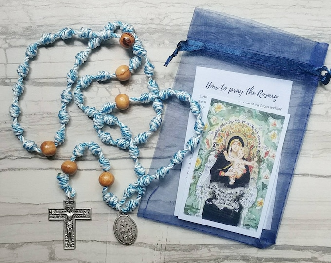 Featured listing image: Hail Mary Twine Knotted Rosary with renaissance crucifix, miraculous medal, and prayer card