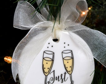 Just Married Christmas Ornament - Our First Christmas Ornament, Wedding Gifts,  Engagement Gifts, Xmas Decorations, Holiday Gifts
