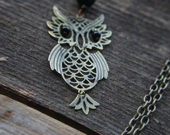 Hooty Hoo Brass Owl Necklace