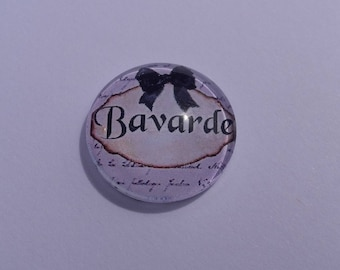 """Funny writing cabochon """"chat"""" by 20 mm round domed"""