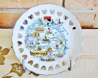 Norfolk pierced edge porcelain souvenir pin or display dish, unmarked, 1960s, collectible