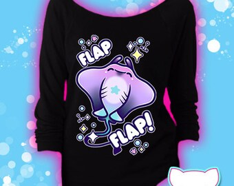 Flap Flap Pastel Stingray 3/4 Sleeve Sweatshirt