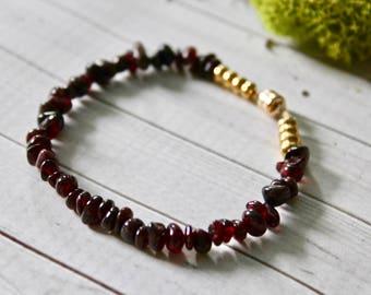 Garnet Love Bracelet, 14K, Magnetic Clasp, Gifts for Her, Boho, Birthstone, One of a Kind, Dainty
