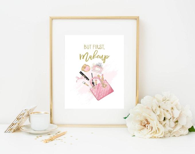 Makeup Print, But First Makeup Print, Makeup Wall Art, Glam Wall Art, Makeup Art, Makeup Quote, Beauty Print, Printable Wall Art