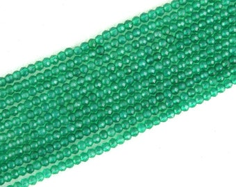 Beautiful 1 Strand Natural Green Onyx Faceted Rondelle Beads,2.5 MM Beads,Green onyx Necklace,Making Jewelry,Onyx Beads,Wholesale Price