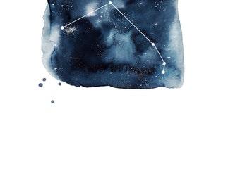 Digital Download - Aries Zodiac Constellation Watercolour Illustration (Star Sign)