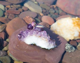 Amethyst and Freshwater Pearl Ring