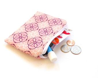 Coin purse, zipper pouch, change purse, credit card holder, pink purple