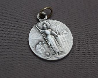 Saint Joan of Arc Medal - French Religious Vintage Medal Pendant Charm - Art Nouveau Pendant - Communion Baptism Gift