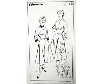 """UNUSED Vintage 50's Woman 651 Wide High waistband Fitted Bodice and Flared Skirt Sewing Pattern Size Bust 36"""" UK 14"""