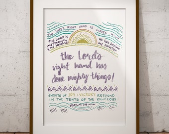 Psalm Print- The Lord has Done Mighty Things - Psalm 118 - Colorful art print - Christian Art Print - Scripture Art Print