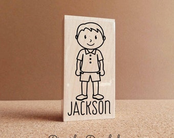 Personalized Little Boy Rubber Stamp - Choose Name, Clothing and Accessories