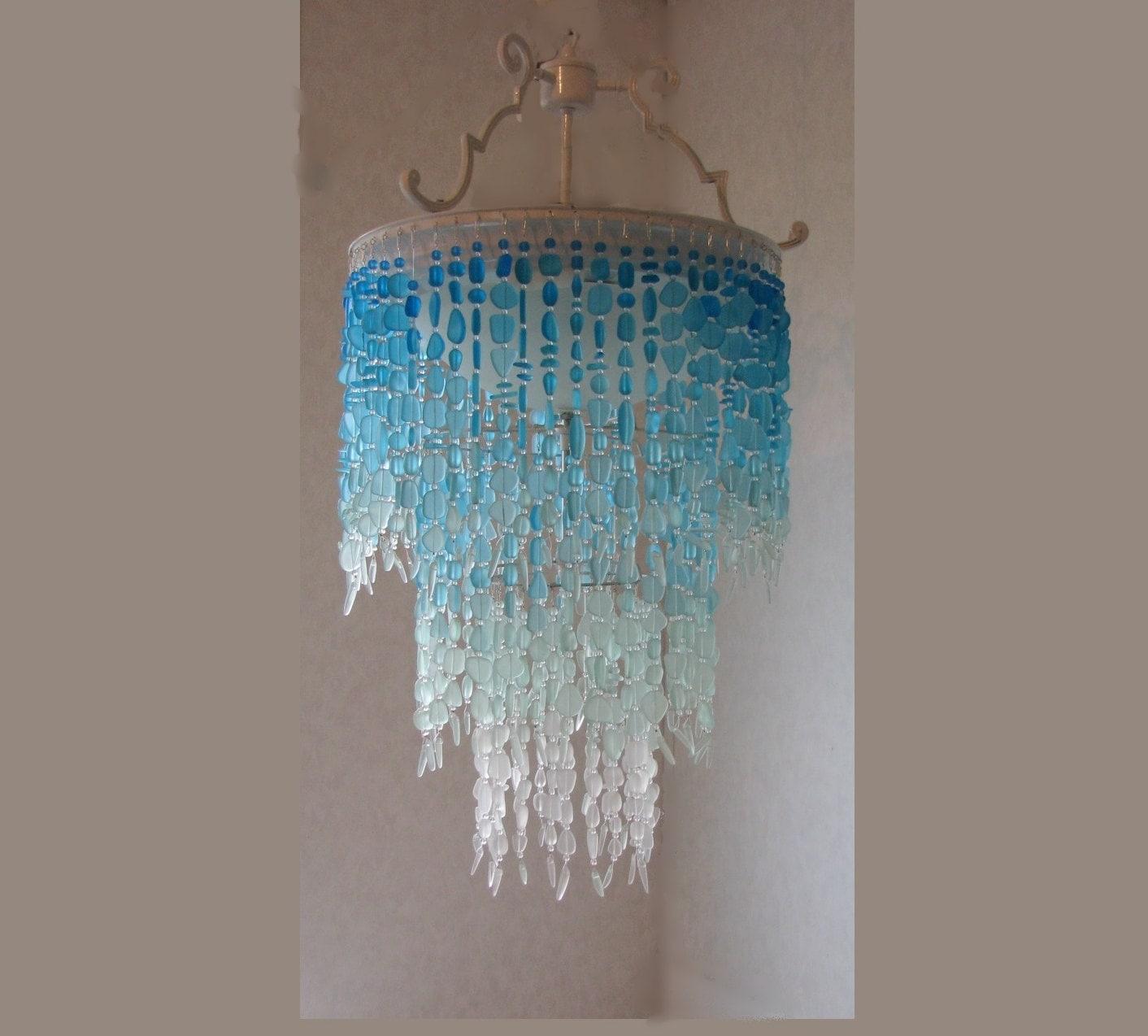 Sea glass chandelier lighting fixture flush mount ceiling zoom arubaitofo Gallery