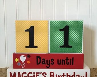 Birthday countdown custom name wood blocks
