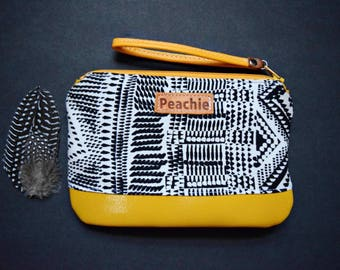 Ready to ship wristlet, black and white wrislet, mustard wristlet, vegan leather wristlet, leather wristlet, tribal wristlet, ethnic wrislet