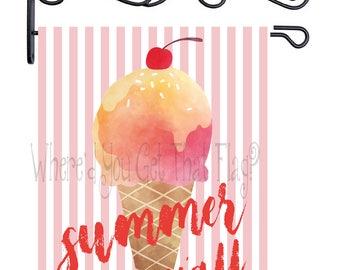 Custom Personalized Garden Flag Ice Cream Cone Watercolor ANY WORDING