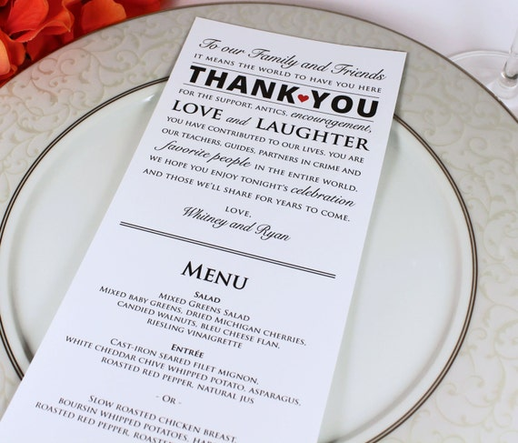 Wedding Reception Menu And Thank You Card Combo