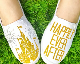 Custom Happily Ever After, Disney, Castle, Disneyland, Disneyworld, women's shoes, slip ons, tinkerbell, mickey mouse, minnie mouse, disney