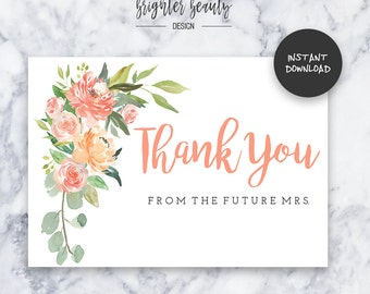 Bridal Shower Thank You Card | INSTANT DOWNLOAD | Do It Yourself | Printable
