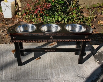 Black Cottage Chic, Elevated Dog Bowl Feeder,  Three 2 Quart Stainless Bowls For the Larger Dog Made To Order