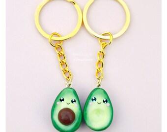 BFF Avocado Kawaii Charm Keychain Miniature Food Jewelry Polymer Clay Handmade Gift Girl