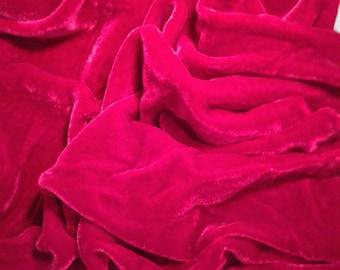 Cherry Red Silk Velvet Fabric