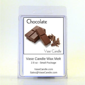 Chocolate Vase Candle 2.8 oz Wax Melts - Highly Scented, Hand Poured Fresh, Premium Paraffin Soy Blend Wax Tarts, 25 Hour, Color Free