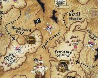 Timeless treasures Kidz pirate map 0,5 m pure Cotton