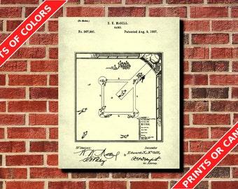 Baseball Diamond Patent Print, Baseball Poster, Baseball Blueprint, Baseball Wall Art, Sports Poster, Man Cave Decor