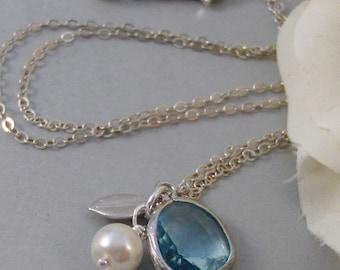 Frozen,Necklace,Blue,Birthstone,Aquamarine,,Silver Necklace,Wedding Birdesmaid,Sterling Silver,Bride,Wedding.Valley Girl Designs