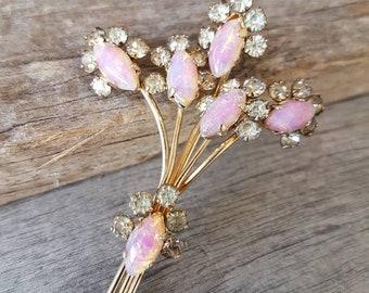 Vintage Floral Spray Brooch , Flower Brooch , Pink Foil Glass , Gifts For Her