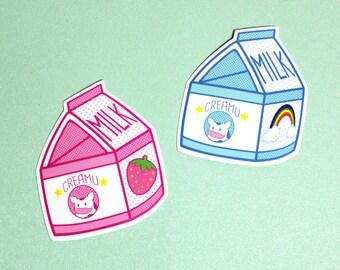 Creamu The Cow Milk Carton Vinyl Sticker - Original or Strawberry Water Resistant