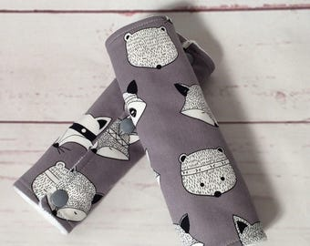 Cotton and super soft minky pram/stroller or car seat strap covers/ teething pads in grey foxes