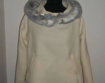 Cream striped sweater with fur collar