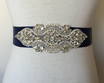 Navy Sash-Rhinestone Sash-Bridal Sash-Crystal Sash-Pearl Sash-Wedding Belt-1.5 Inch Ribbon-Victorian Crystal Pearl Applique Navy  Sash