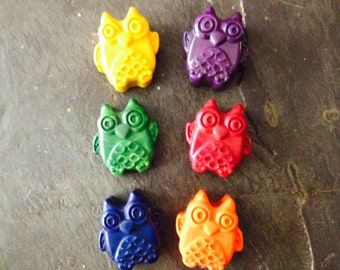 Owls crayon set of six