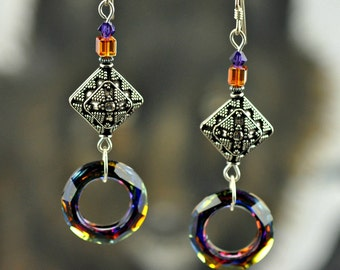Cosmic Ring Swarovski Crystal Volcano/Sterling Silver Dangle Earrings