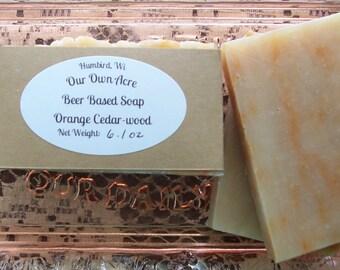 Beer Based Orange Cedarwood Soap (FREE SHIPPING!)