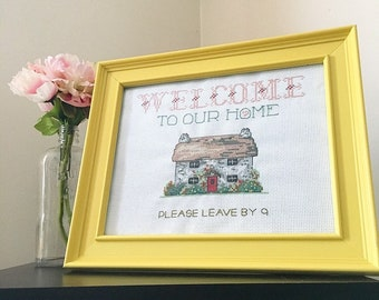 Please leave by nine / welcome to our home / finished, framed cross stitch / housewarming gift / introvert / best friend gift / home decor