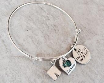 Oh the places you'll go custom bangle bracelet personalized bracelet personalized graduation gift graduation jewelry high school gradution