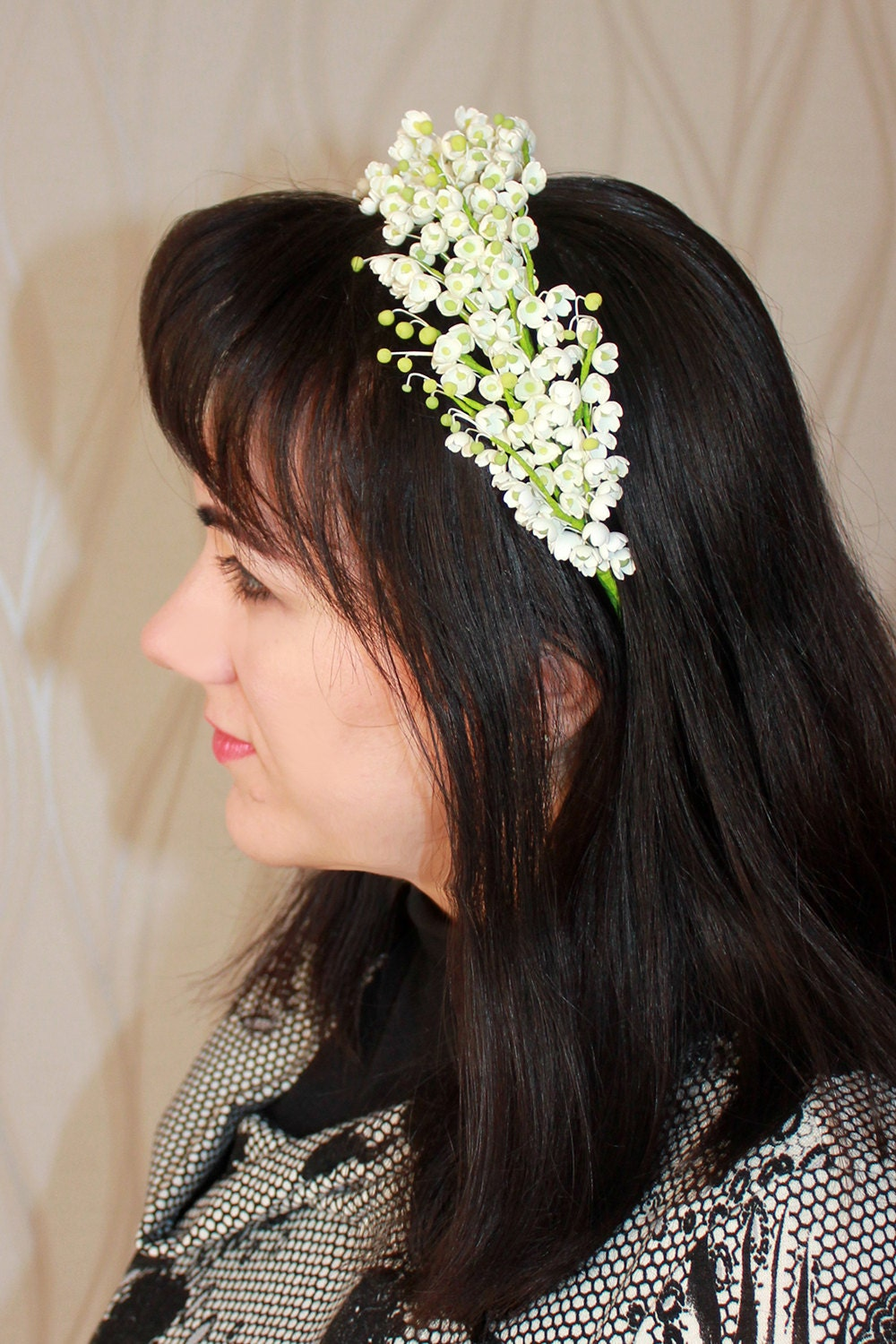 Bridal Crown Lily Of The Valley White Flower Halo Wedding Hair