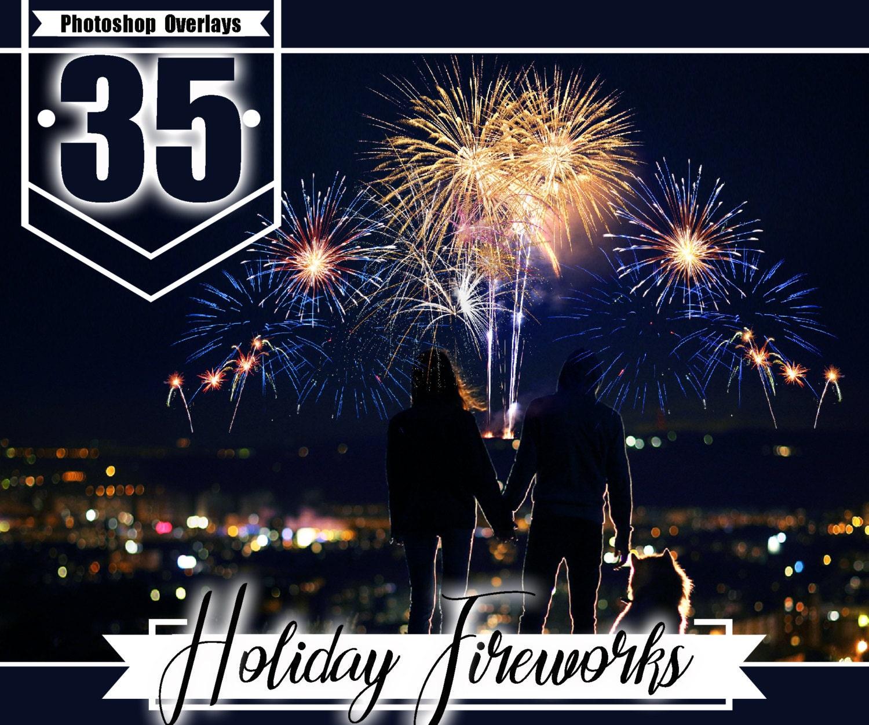35 Firework Photo Photoshop Overlays Holiday Fireworks