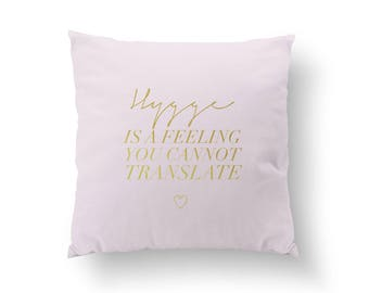 Hygge Is A Feeling Pillow, Hygge Pillow, Typography Pillow, Home Decor, Cushion Cover, Throw Pillow, Bedroom Decor, Bed Pillow, Gold Pillow
