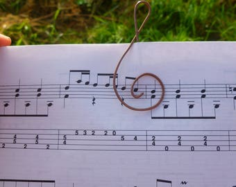 Treble Clef Bookmark, Musical Paperclip, Hammered Copper Wire, Gift for Teacher or Student