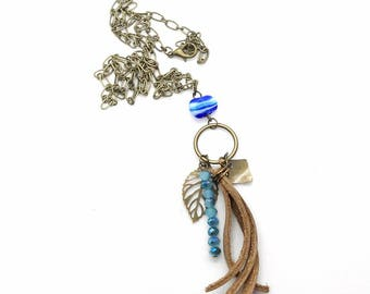 Blue and Leather Long Necklace