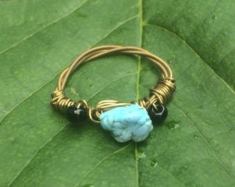 Turquoise and Seed Bead Ring
