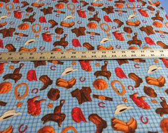 Wrangler's Ranch - Lucy Willink - South Seas Imports - Cowboy Gear  cotton fabric - sold by the yard