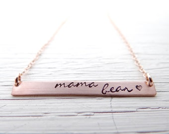 Mama Bear Bar Necklace.  Your Choice of Gold, Rose Gold, or Sterling Silver. Minimalist, Hand Stamped Jewelry. Gift for Mom.