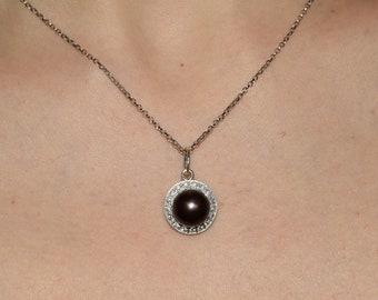 Black pearl pendant etsy black pearl pendant black peal necklace pearl pendant pearl necklace art deco pendant art deco necklace round pendant round necklace aloadofball Gallery