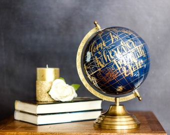 Home Is Wherever I'm With You - Large, Navy and Gold Globe, Calligraphy, Wedding Globes, Travel, Blue and Gold, Travel Wedding